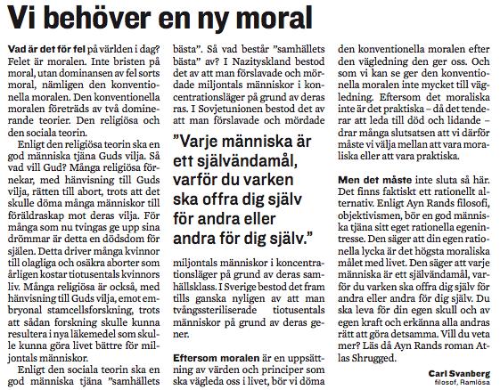 Insändare om en ny moral